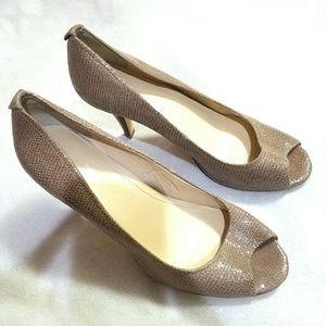 Nude snakeskin open toe high heels